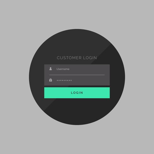 dark customer login form in simple style