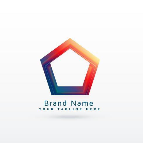 concept de logo de forme pentagonale géométrique dynamique