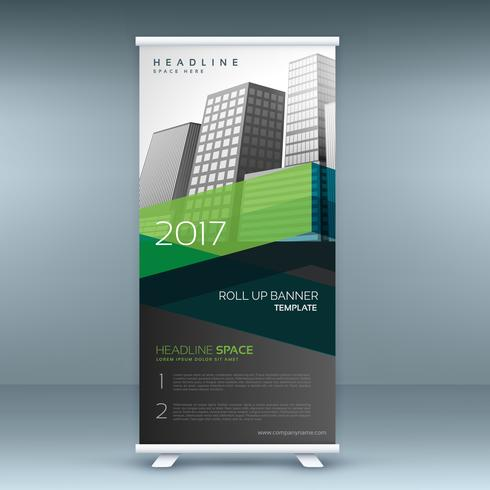 green and black business standee roll up banner template design
