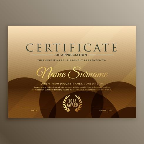 premium brown certificate design template