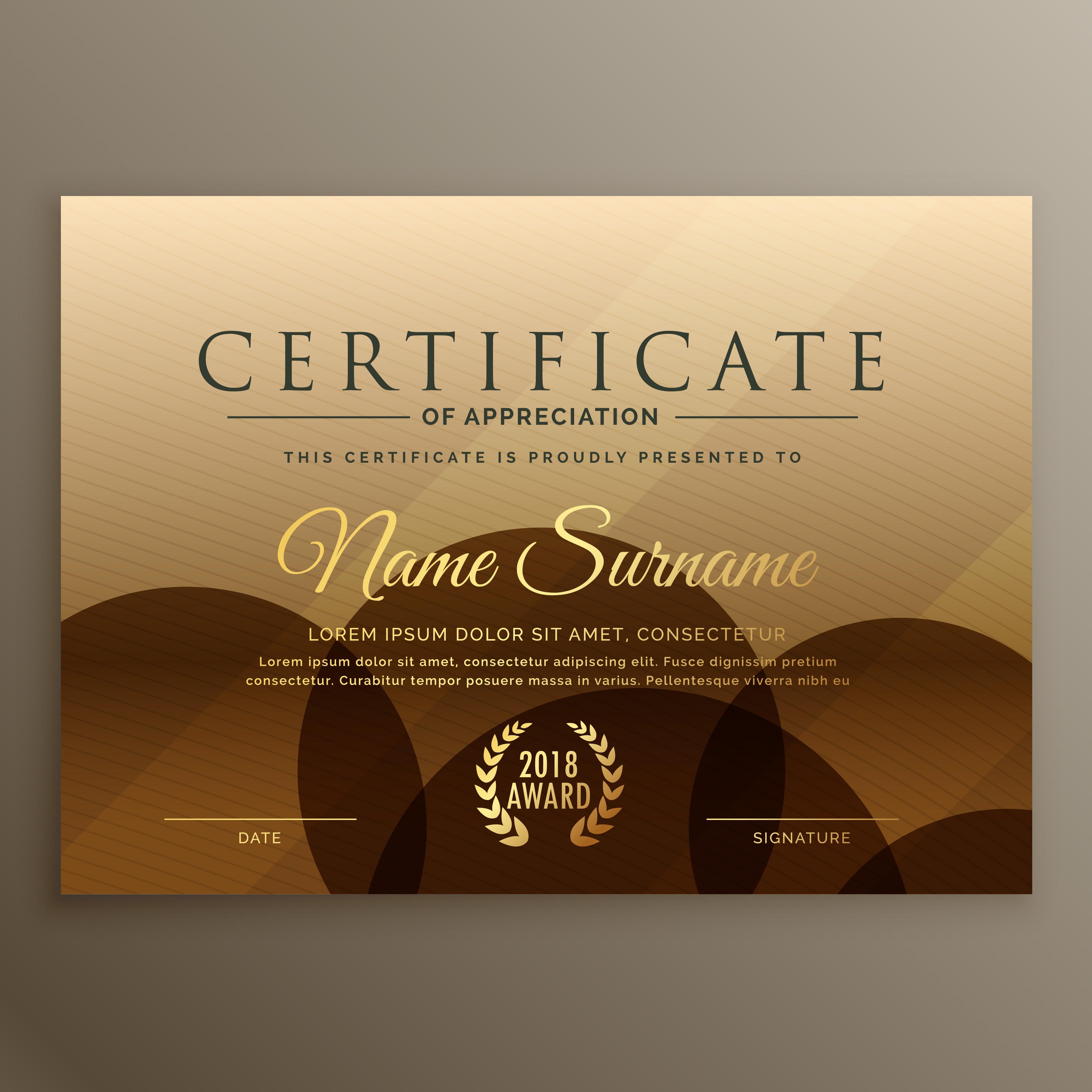 premium brown certificate design template - Download Free ...