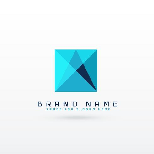 blue square abstract logo concept design