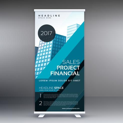 abstract blue standee roll up banner design concept for business