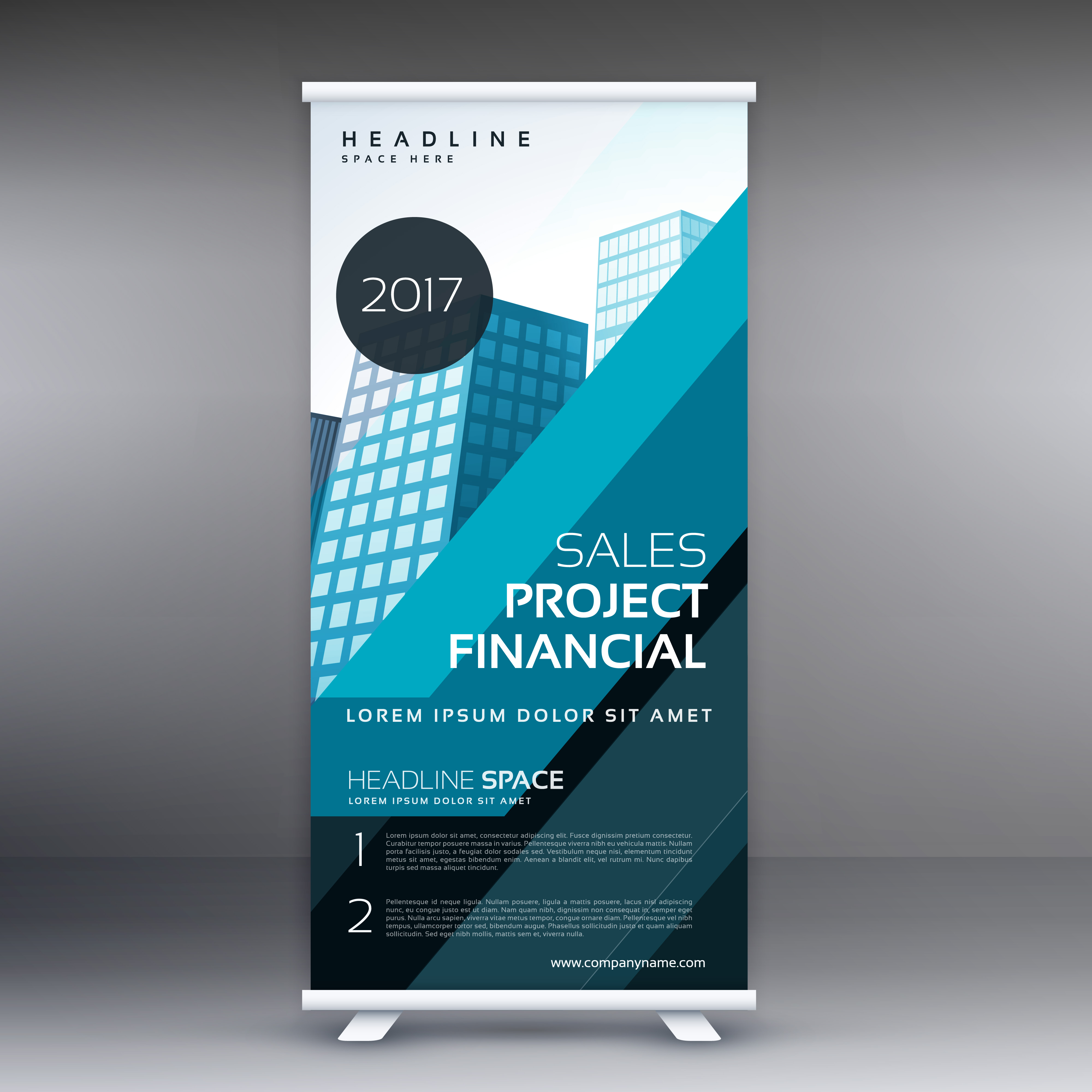 abstract blue standee roll up banner design concept for