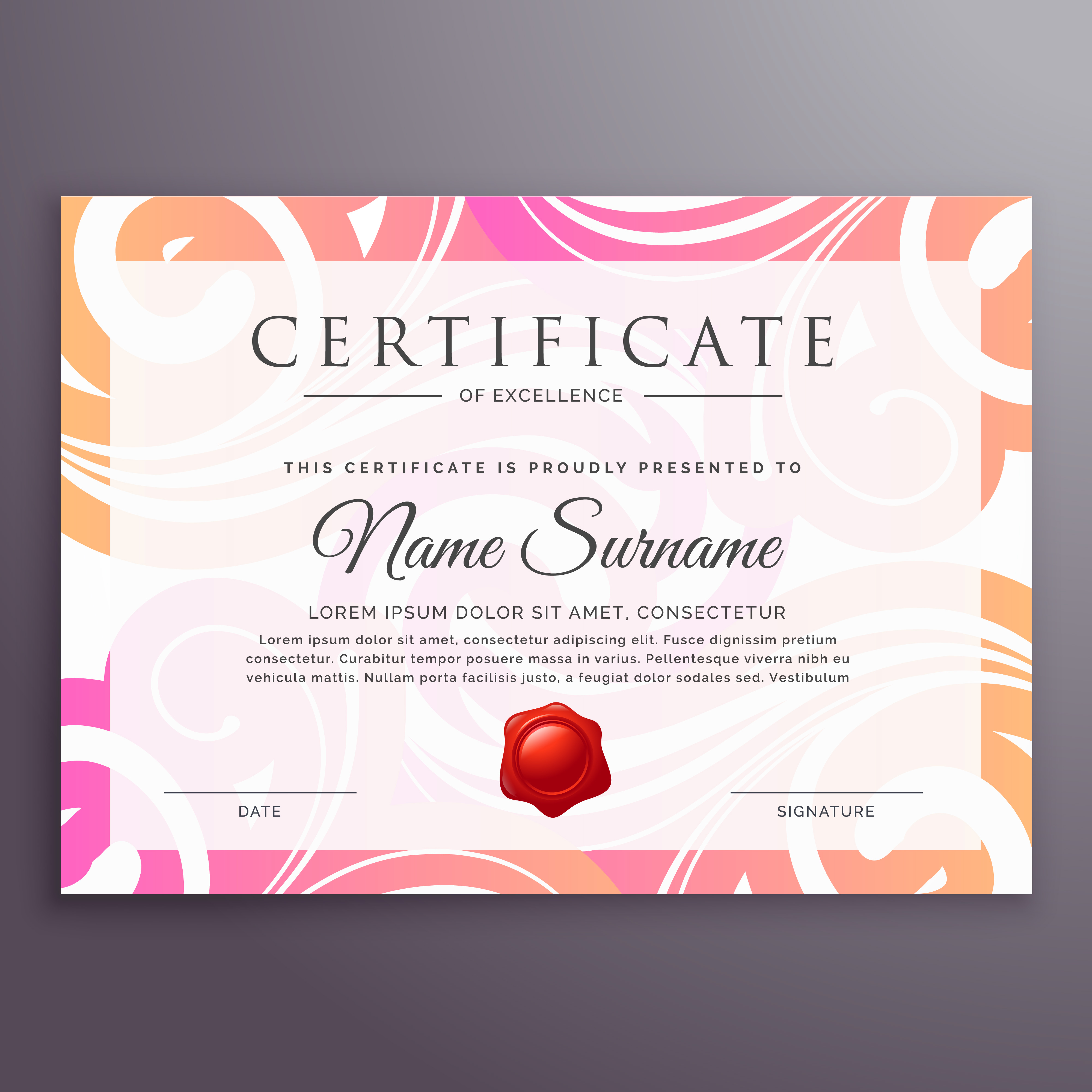 Stylish Floral Background Certificate Design Template