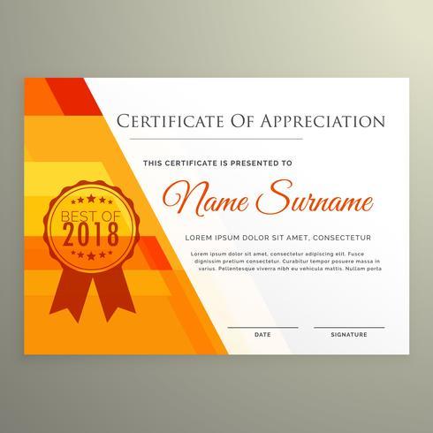 moderne oranje certificaat van prestatie tempate ontwerp vector