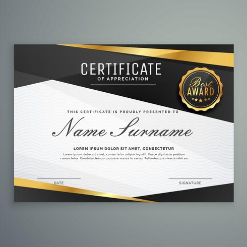 stylish certificate of appreciation award template in black and