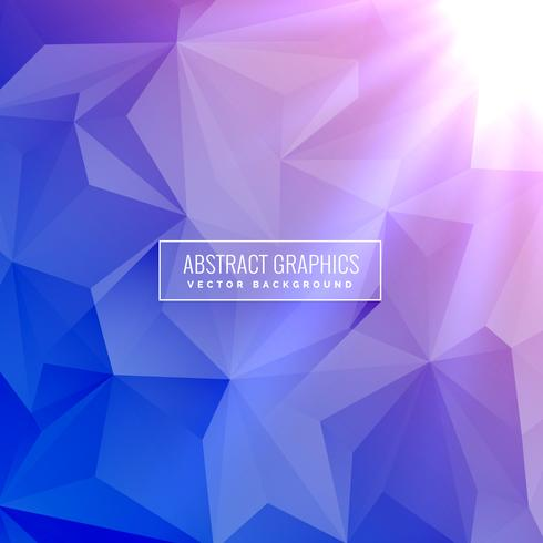 elegant low poly geometric blue background with light rays