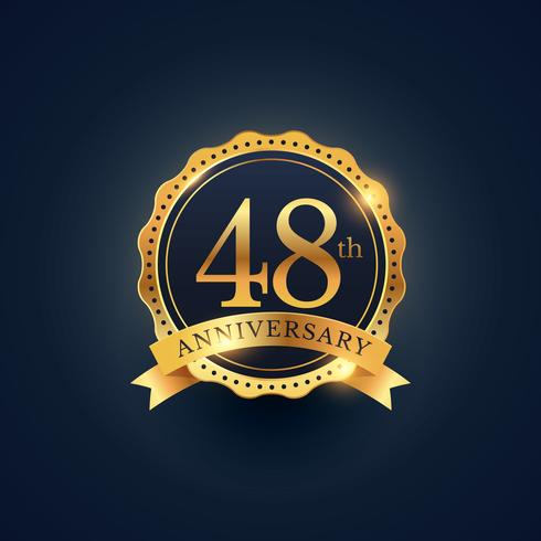 48th anniversary celebration badge label in golden color