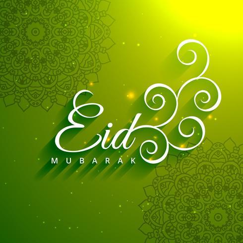 Texto creativo de eid mubarak en fondo verde