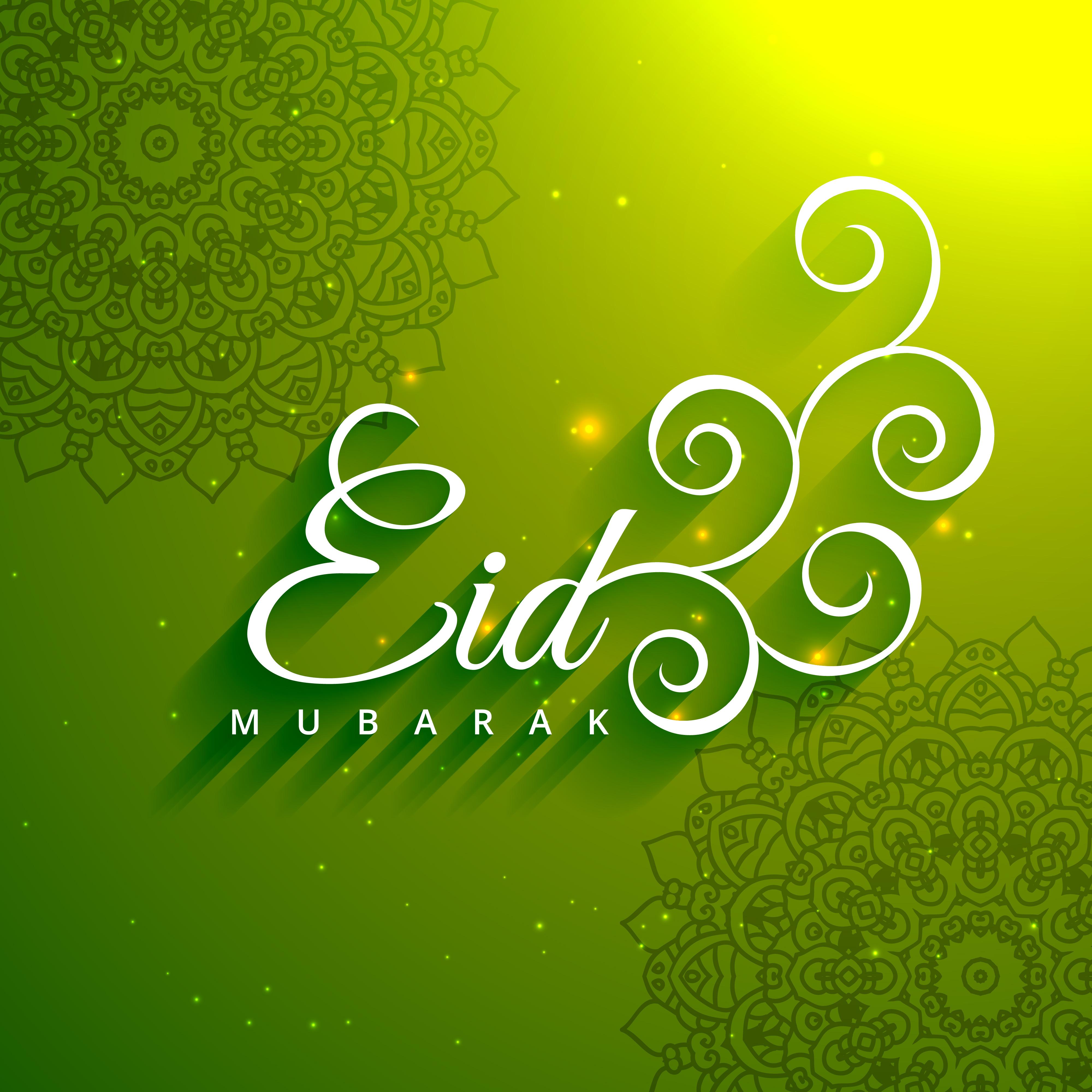 eid mubarak creative text in green background  download