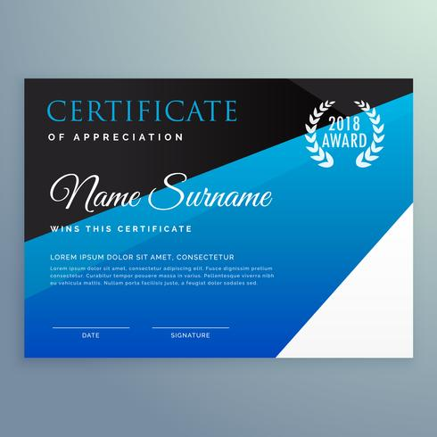 certificate design template with clean blue geometric pattern