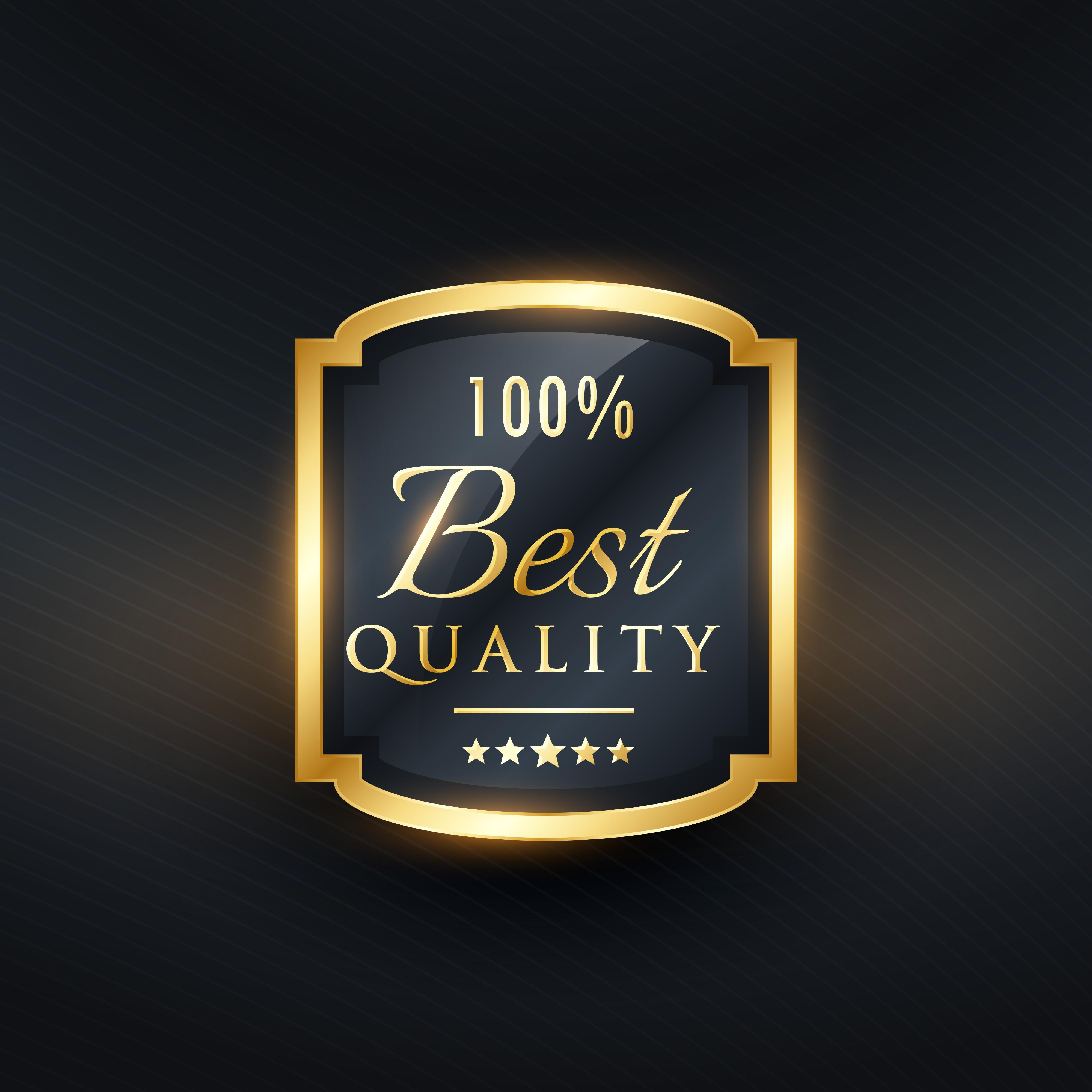 Best Quality Label In Golden Premium Design