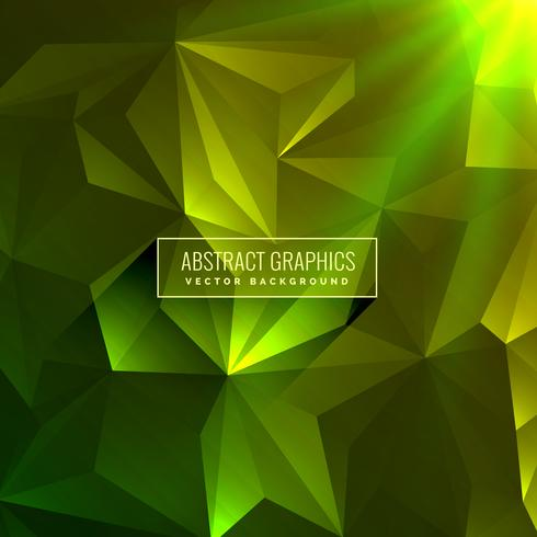 abstract green low poly background with glowing light