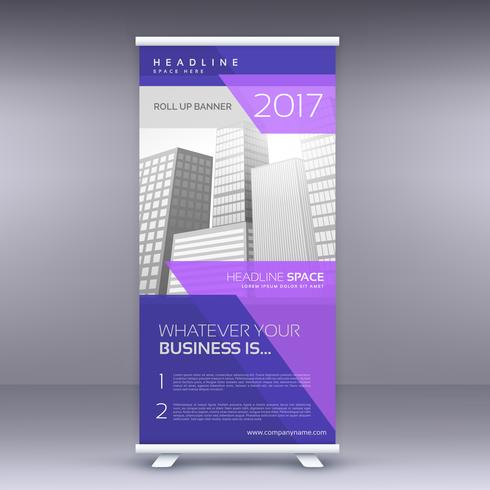purple standee roll up banner design template