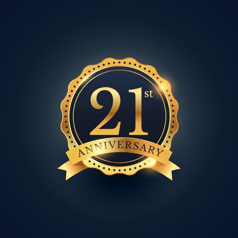 21st anniversary celebration badge label in golden color