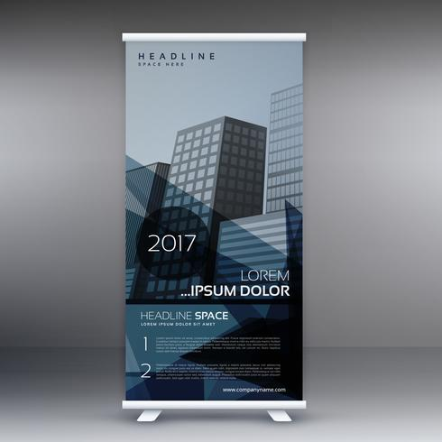 dark blue abstract standee roll up banner design template