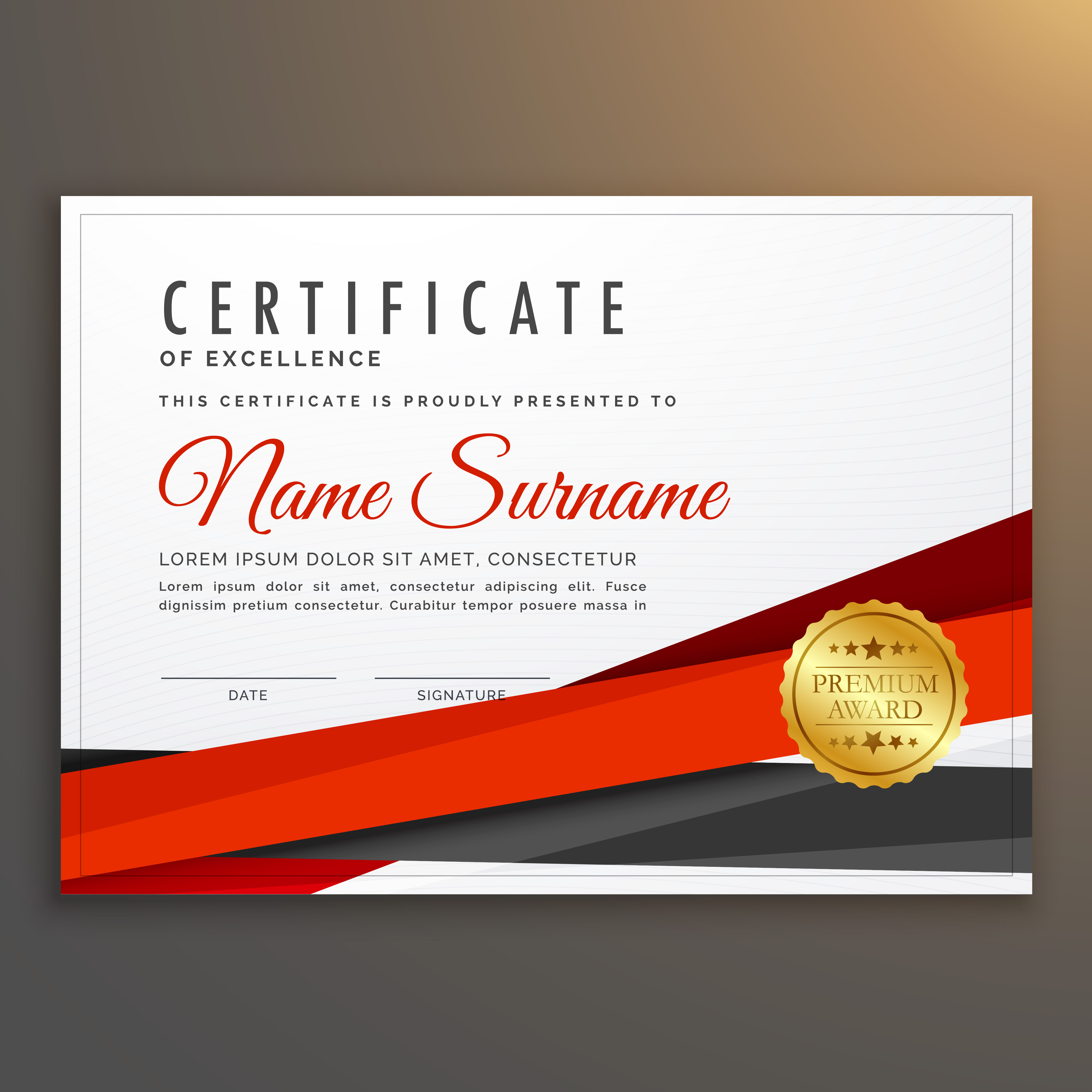 clean modern certificate of excellence design with red