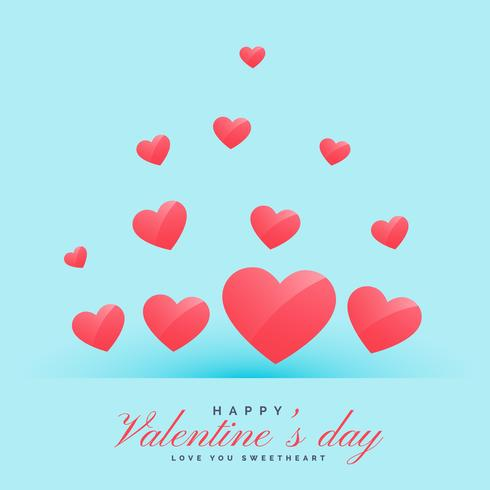 flying hearts on blue background happy valentine's day