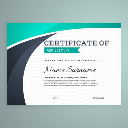 stylish blue certificate design template