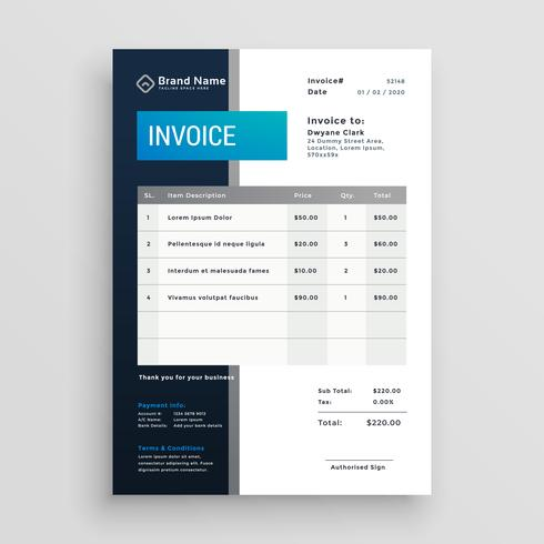 modern invoice template vector design