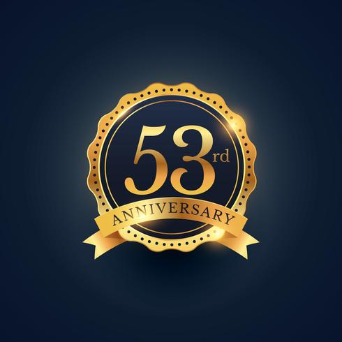 53rd anniversary celebration badge label in golden color