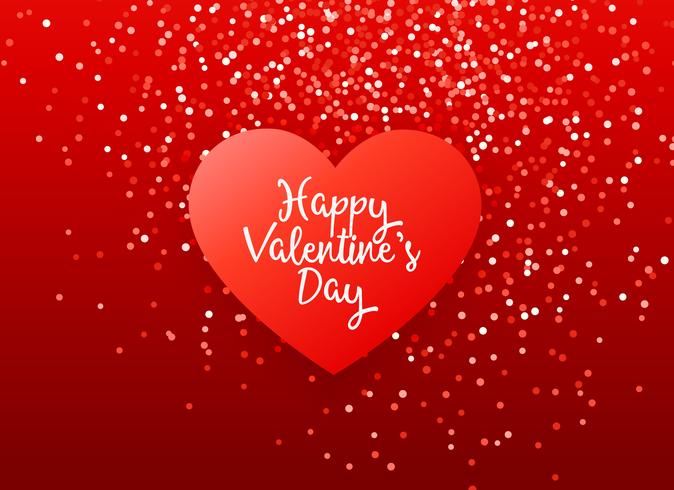 lovely red valentine's day greeting design with glitter