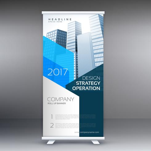 blue company roll up template with skyscrapers