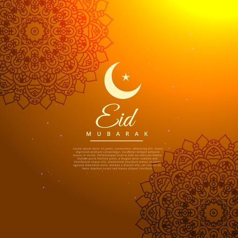 eid mubarak golden background with crescent moon