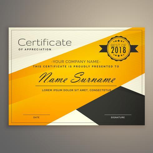 impresionante plantilla de diseño de certificado amarillo y negro