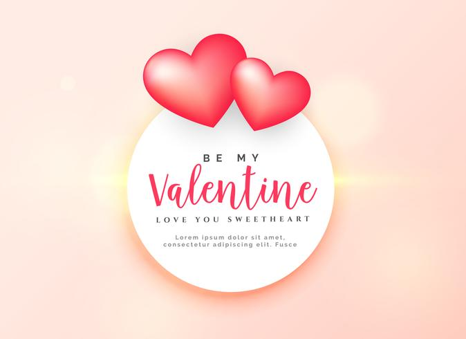 elegant valentine's day design with two pink hearts