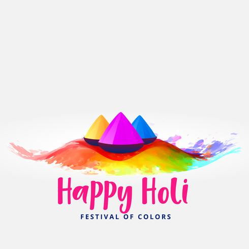 happy holi colors elements festival card greeting design