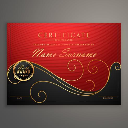 Plantilla de diseño de certificado de lujo rojo y negro
