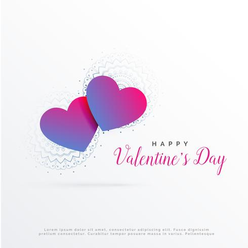 modern valentine's day greeting design with two hearts backgroun