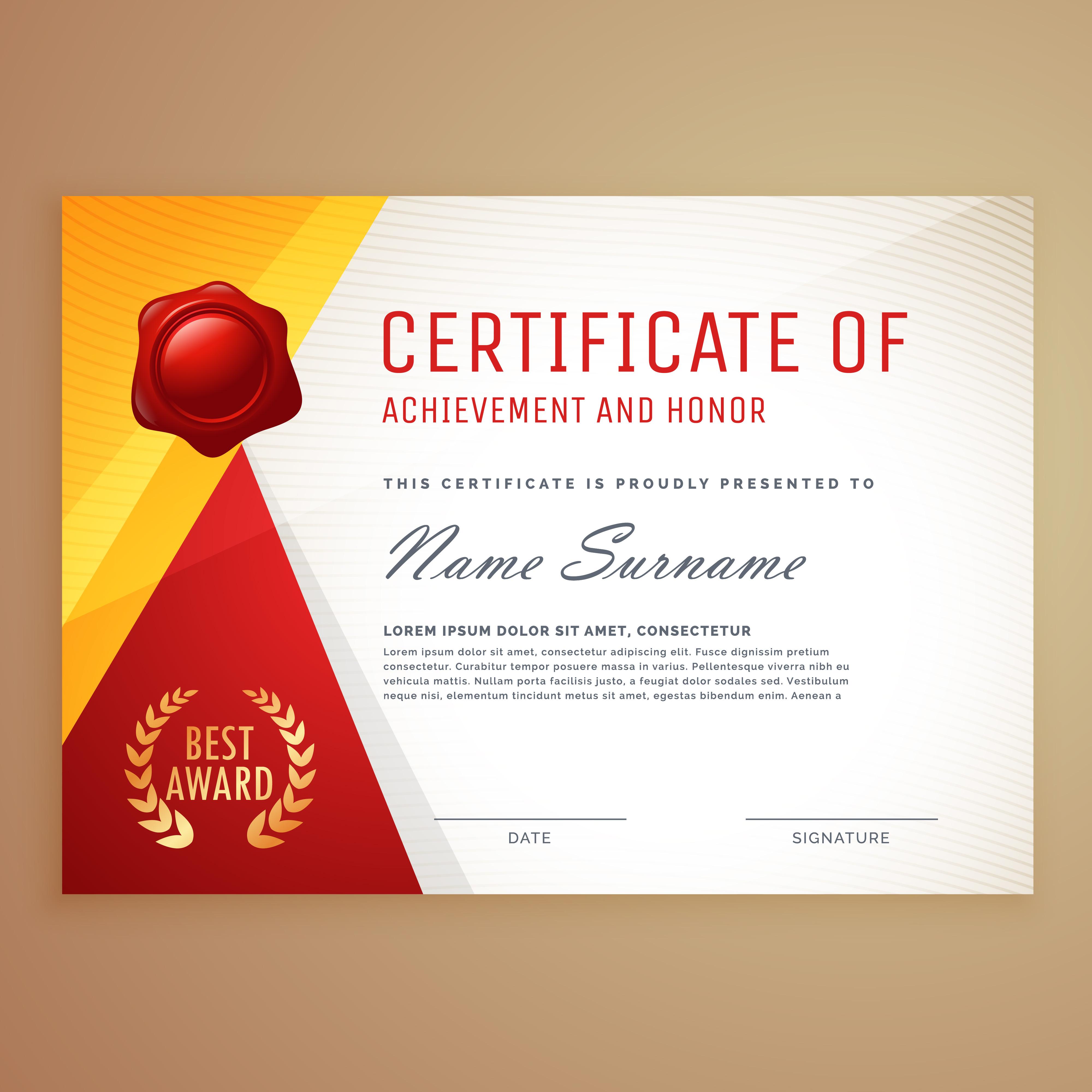 modern certificate template design - Download Free Vector ...
