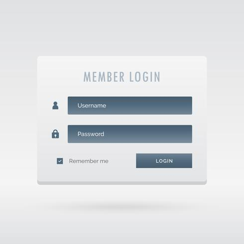 formulaire de connexion de membre élégant dans une interface utilisateur légère