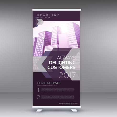modern purple standee roll up banner design temaplate for busine