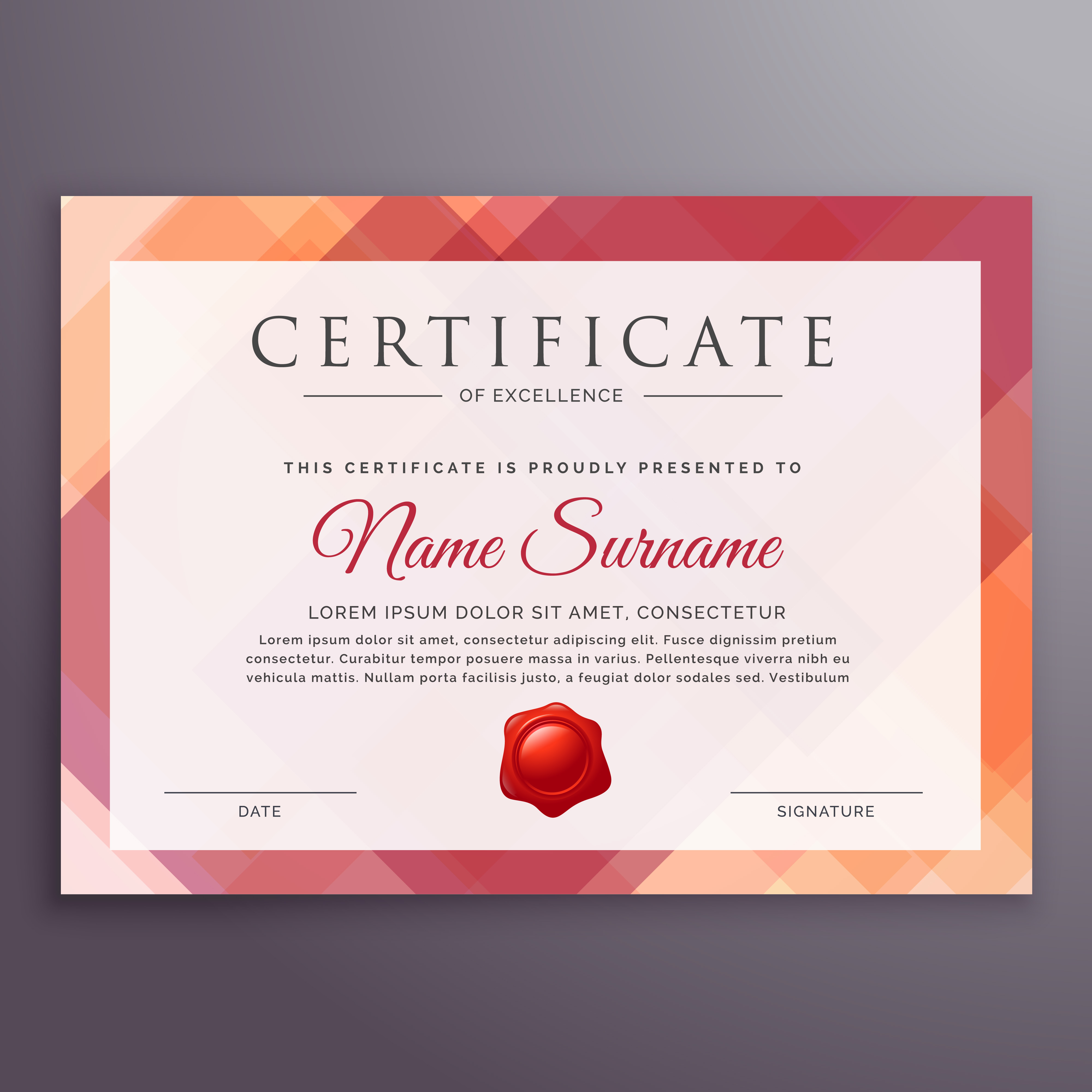Abstract Certificate Template Design Vector Download Free Vector