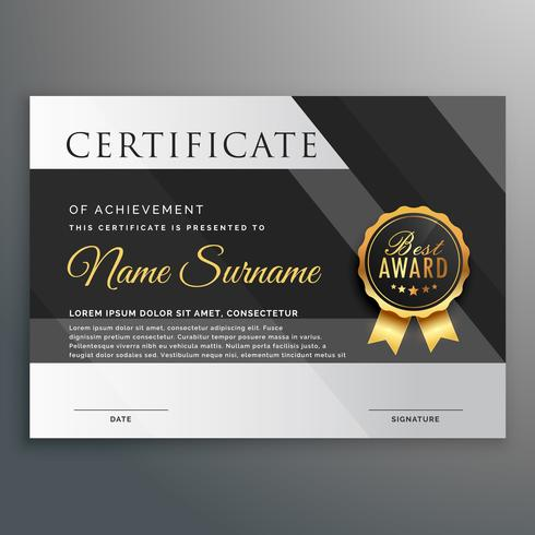 premium gold and black certificate design template ...