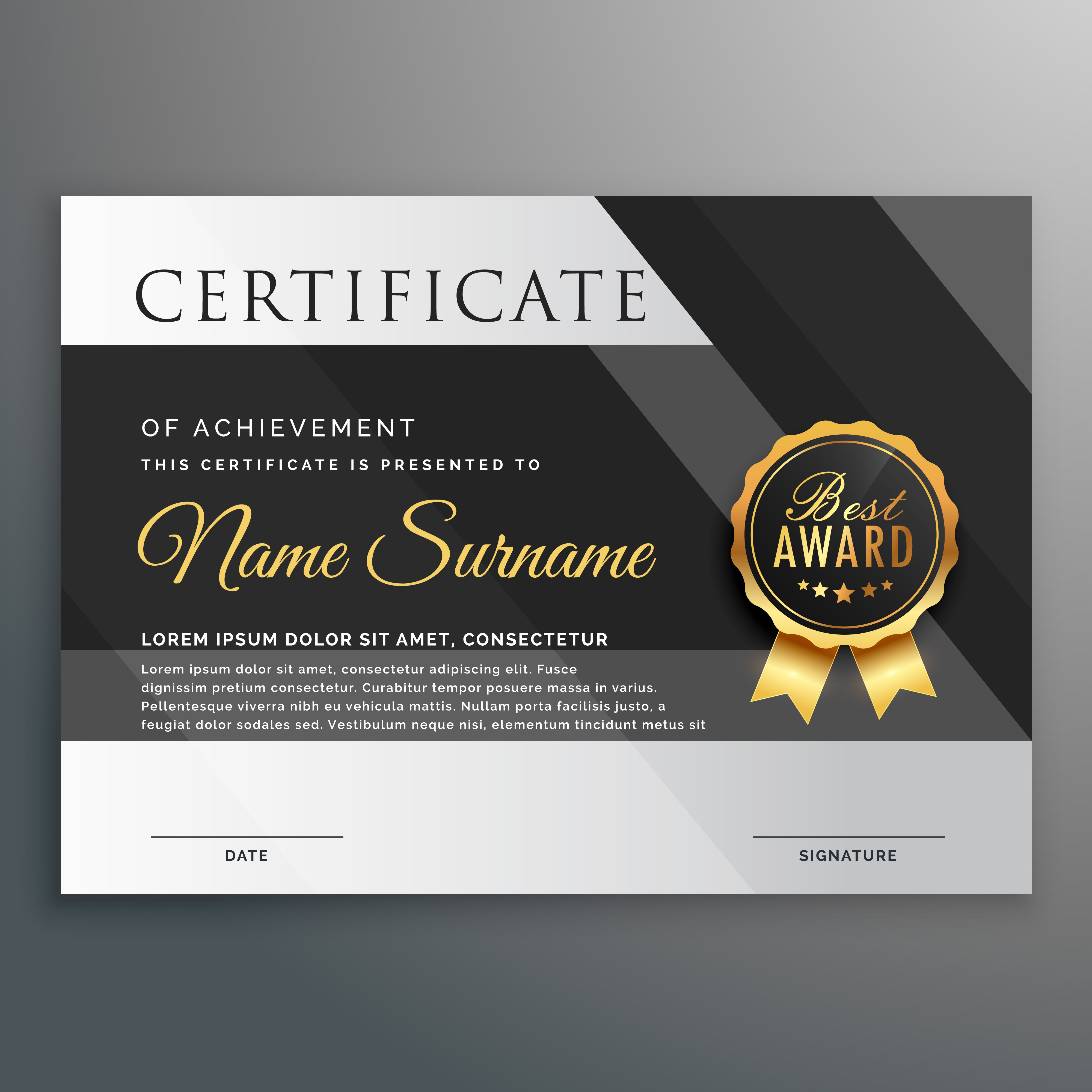 premium gold and black certificate design template