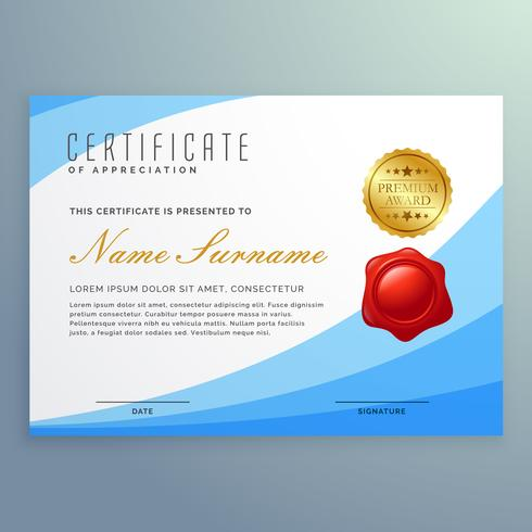 stylish certificate of appreciation with wavy blue shape