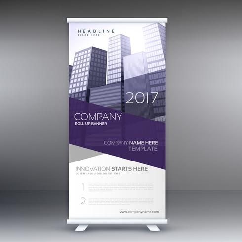 company roll up banner with purple shapes and buildings