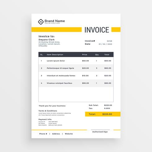 minimal yellow invoice template vector design