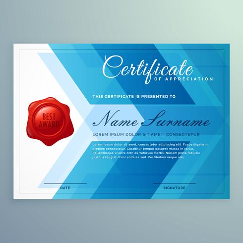 diploma certificate template made with abstract blue shapes