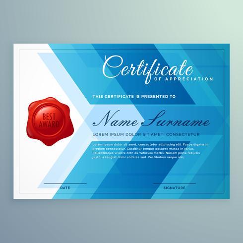 diploma certificaatsjabloon gemaakt met abstracte blauwe vormen