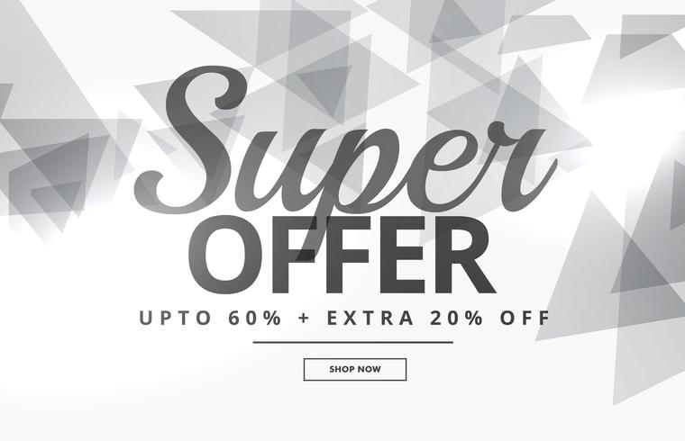 super sale banner or voucher design with gray triangles on white