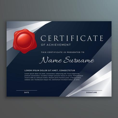 dark certificate template design with silver geometric shapes