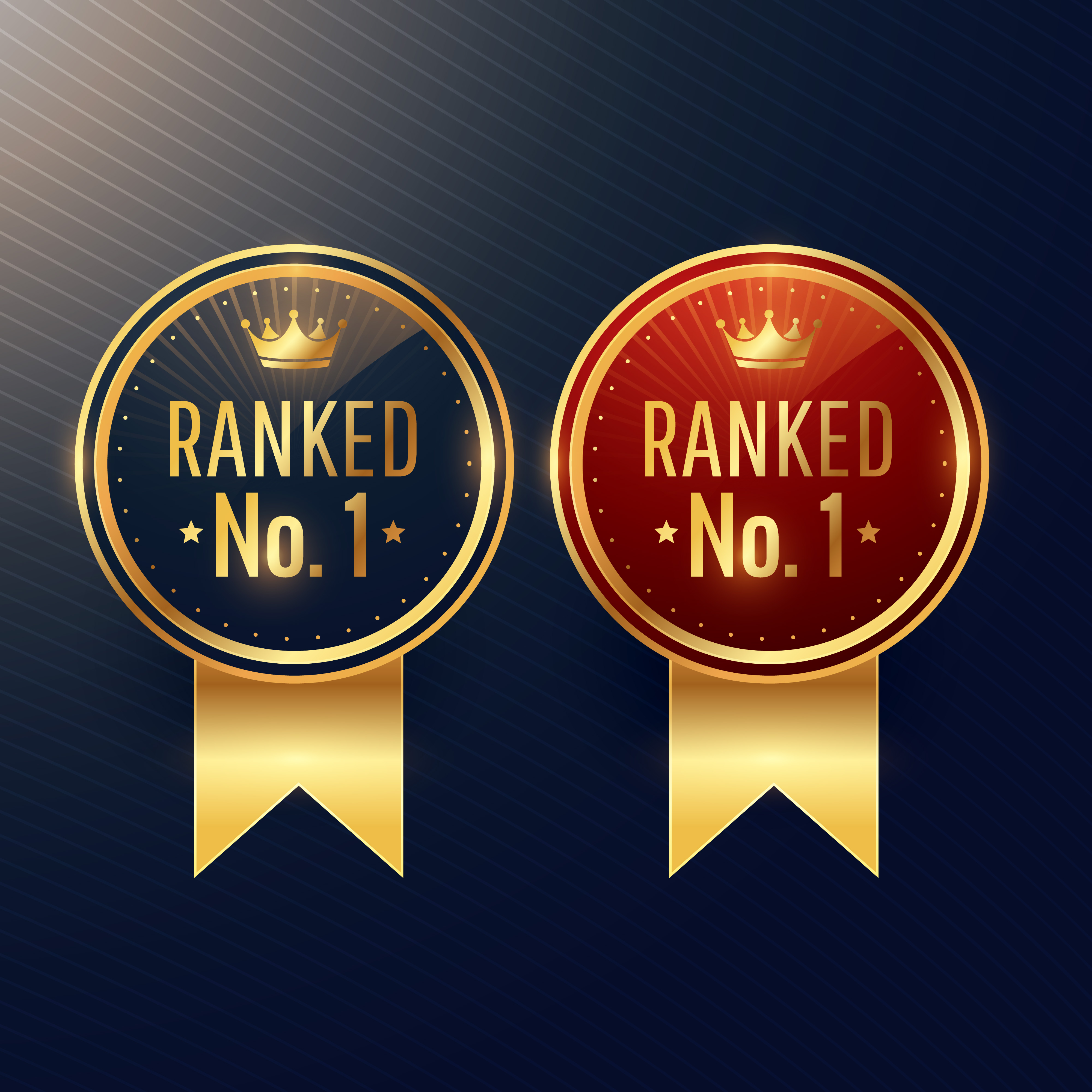 Promotion Retro Badges: Ranked No.1 Labels Set In Two Colors
