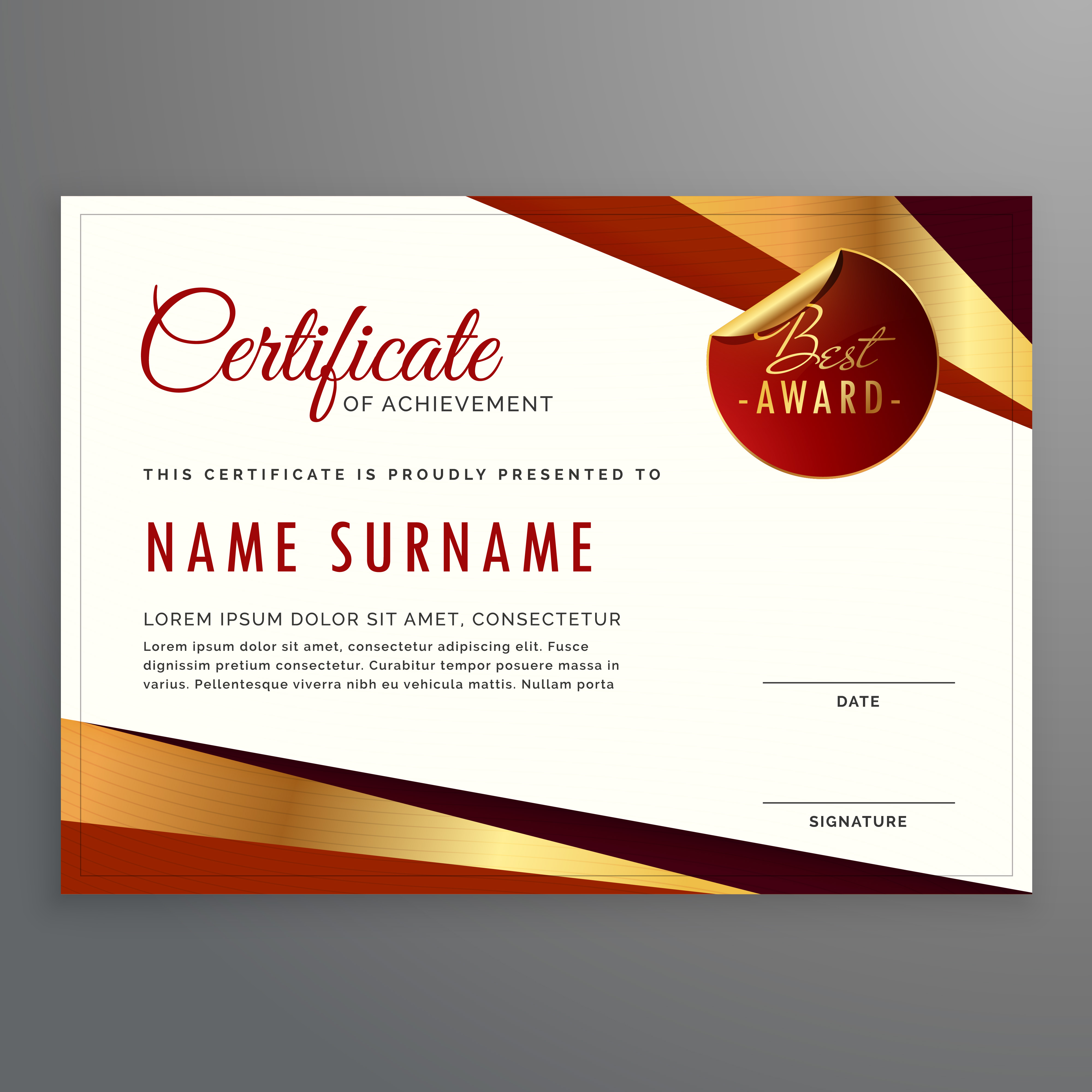 Elegant Marriage Certificate Template Golden Edition: Luxury Certificate Template Design With Elegant Golden And