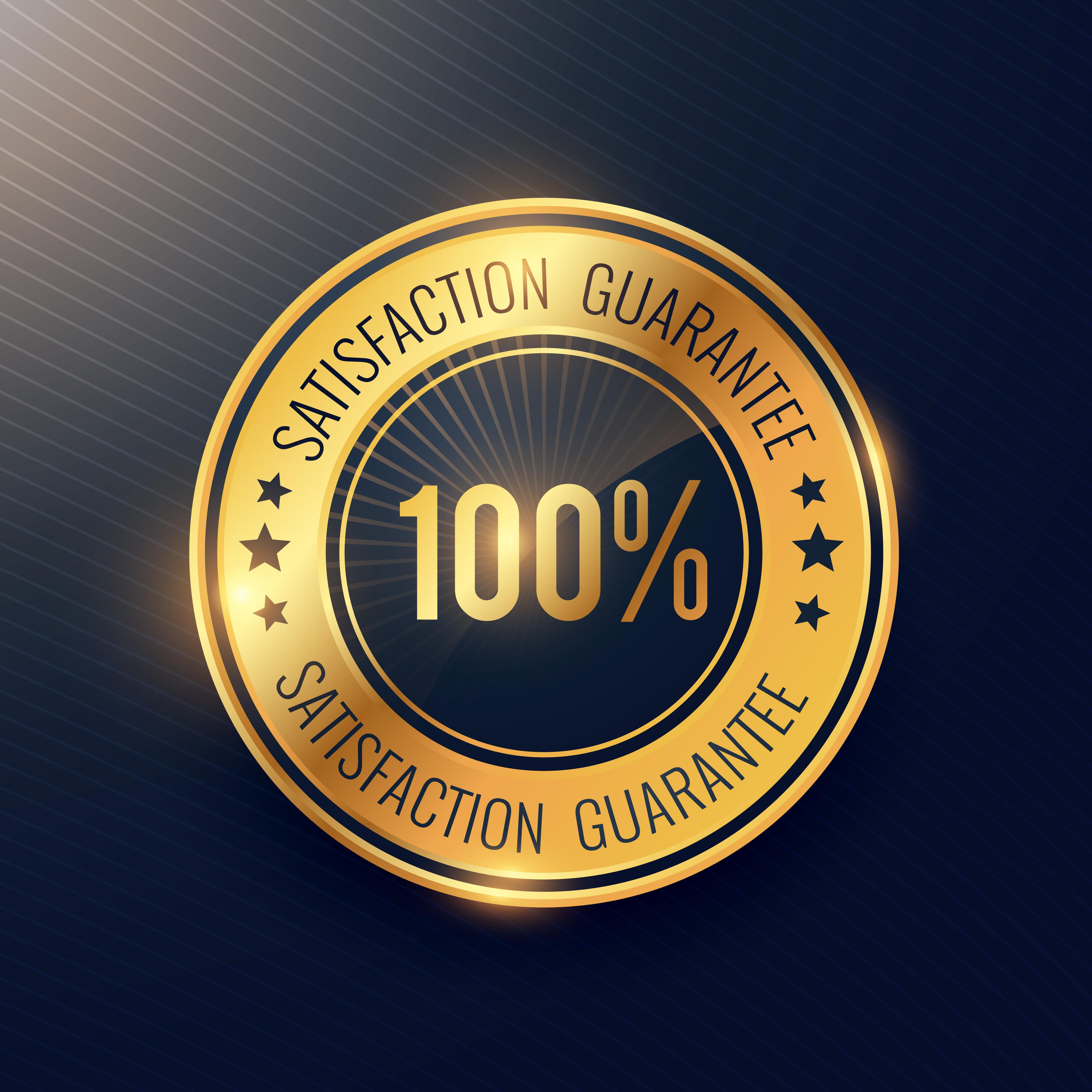Satisfaction Guarantee Golden Badge And Label Vector